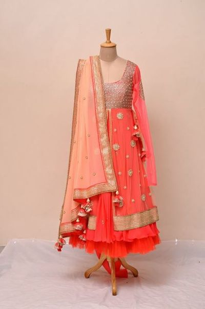 Photo of Coral anarkali for Mehendi