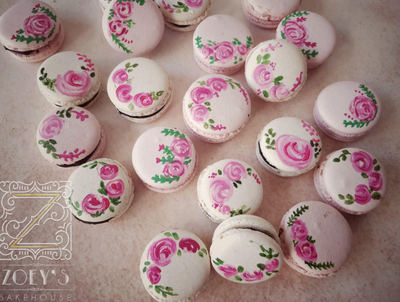 Photo of Pretty floral pink and white macrons for wedding