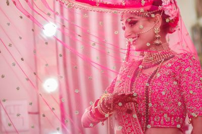 Photo of Bridal portrait in pink with dupatta