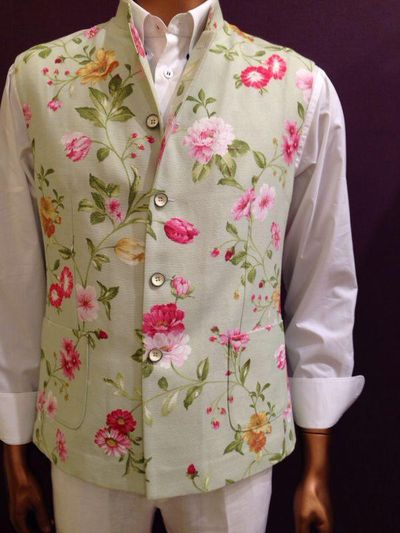 Photo of floral print nehru jacket