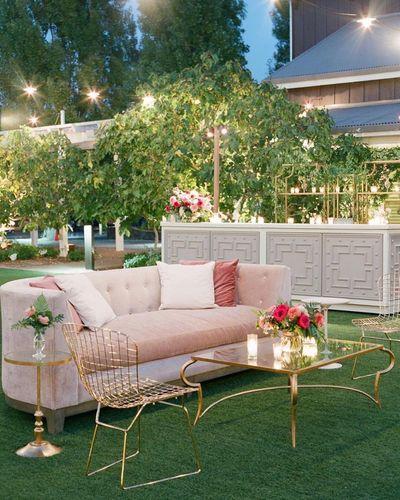 Photo of white and gold elegant decor idea for a modern mehendi