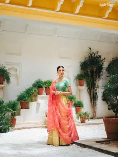 Photo of Light lehenga style for the sister of the bride or the groom