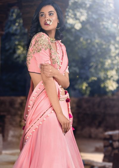 Photo of light pink crop top lehenga