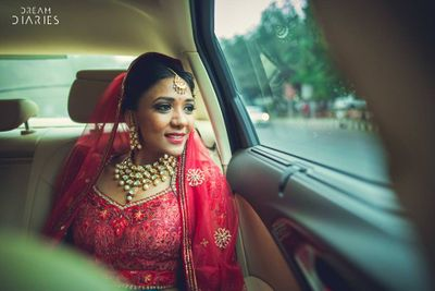 Photo of Bridal portrait in red outfit