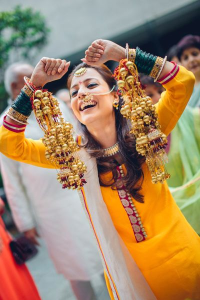 Photo of Happy bride showing off kaleere