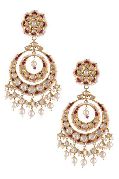 Photo of rubies and kundan chaand baali style earrings