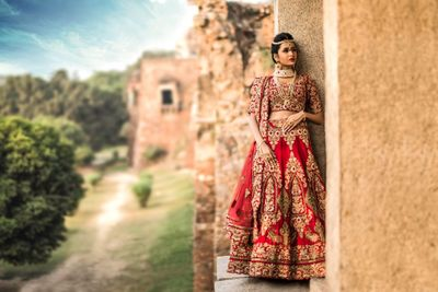 Photo of Red and Gold Bridal Lehenga