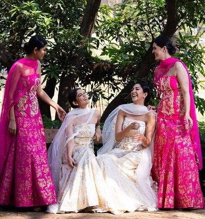 Photo of Pretty in pink and white outfits from house of masaba! Perfect for a sister or bff of the bride