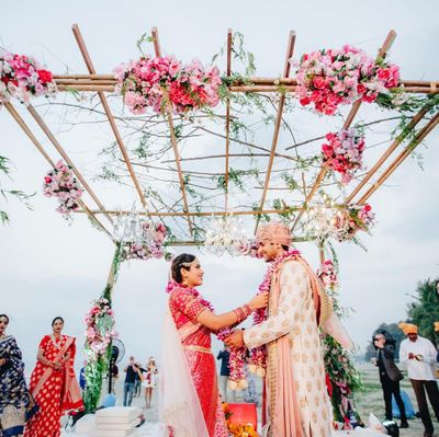 Photo of Minimal beachside mandap decor idea