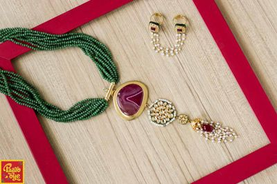 Photo of Green Beads String Ruby Necklace with Pearl String Ring