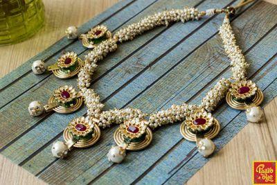 Photo of Pearl String Ruby Meenakari Necklace