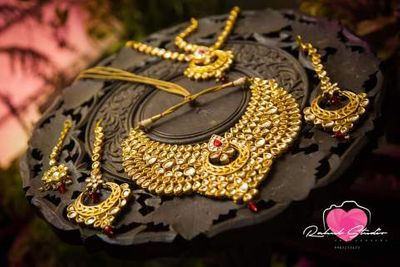 Photo of Gold Bridal Jewelry with Kundan and Ruby