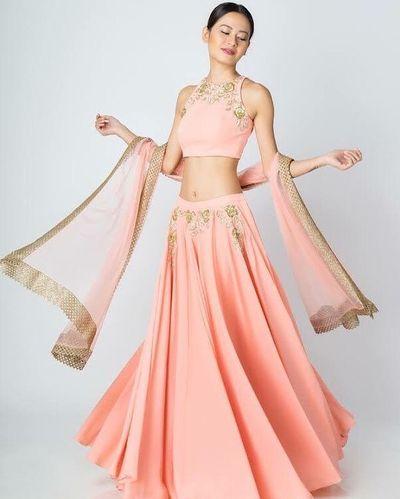 Photo of Simple pastel lehenga in blush pink