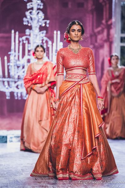 Photo of Tahiliani Benarasi Red and Yellow Light Lehenga