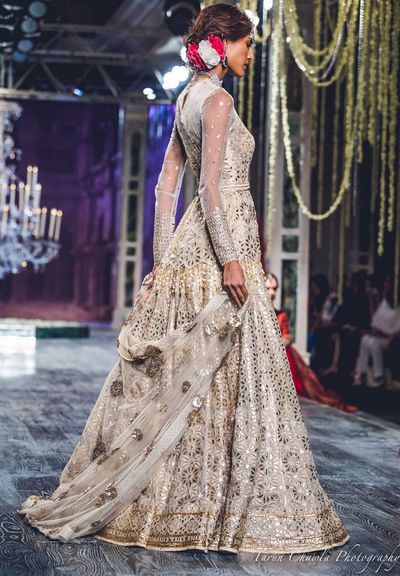 Photo of Tahiliani Light Grey Lehenga with Silver Gota Work