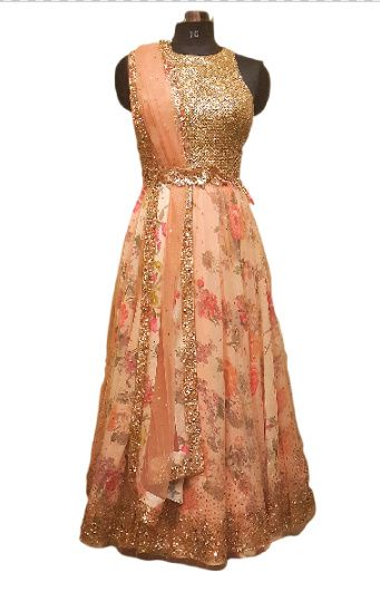 Photo of floral printed peach anarkali