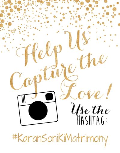 Photo of Modern wedding card with wedding hashtag