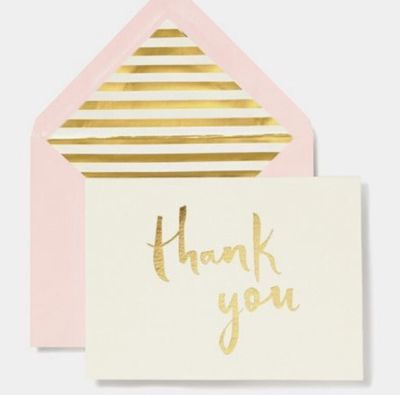 Photo of Thank you card with gold lettering