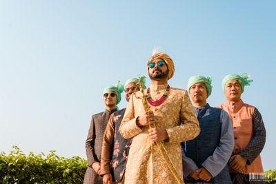 Photo of Coordinated groom and groomsmen