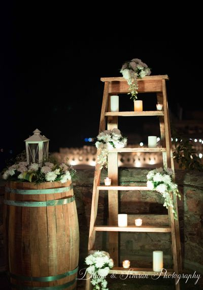 Photo of wooden floral staircase decor