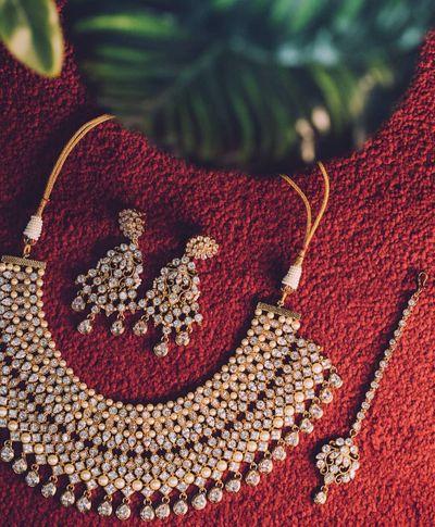 Photo of simple bridal jewellery flatlay