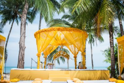 Photo of Marigold beach side mandap decor