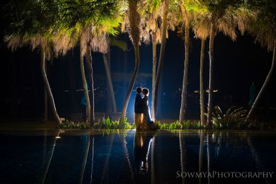 Photo of romantic couple sea side pre-wedding shoot