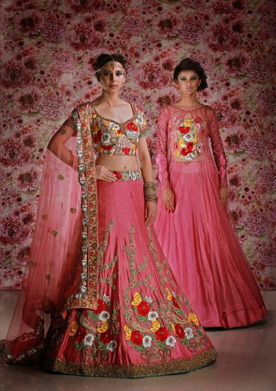 Photo of Bright pink lehenga with floral embroidery