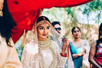 Photo of Glowing bride in pastel lehenga