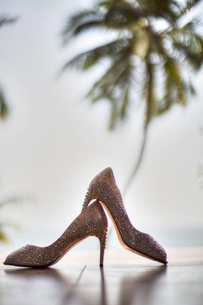 Photo of Beautiful glittery gold heels