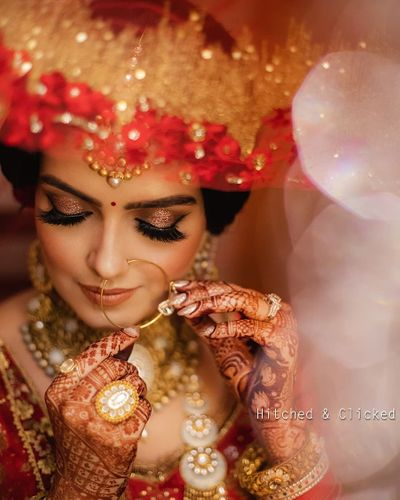 Photo of bridal close up shot with bronze gold eye makeup