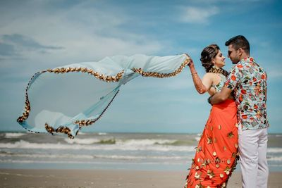 Photo of flowing dupatta pre wedding shot for mehendi
