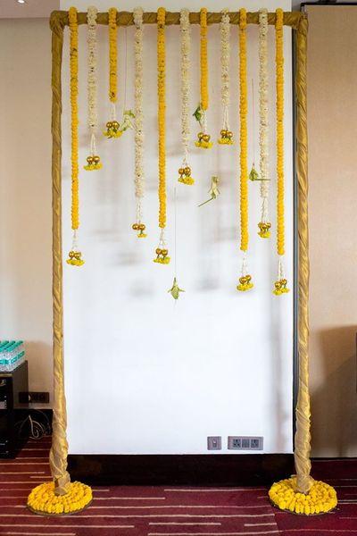 Photo of Yellow and White Genda Phool Decor