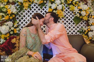 Photo of cute romantic engagement couple portrait