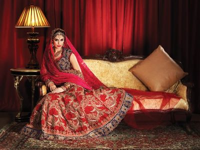 Photo of red bridal lehenga