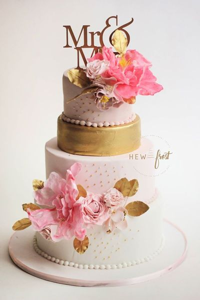 Photo of Light Pink and White Floral Cake with Cake Topper