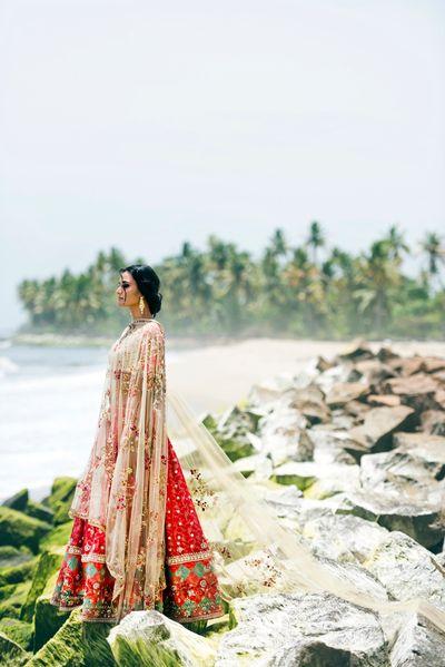 Photo of Red and white bridal lehenga