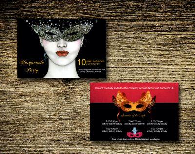 Photo of masquerade theme invitation
