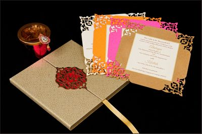 Photo of laser cut wedding card