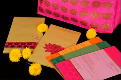 Photo of pink and yellow wedding card