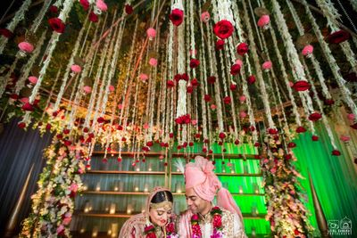 Photo of Hanging floral strings wedding mandap