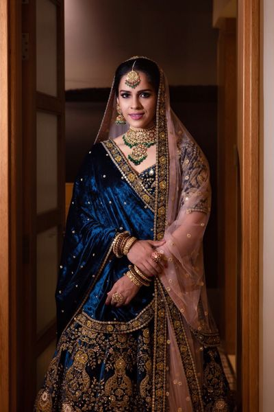 Photo of Saina nehwal in her offbeat velvet sabyasachi lehenga