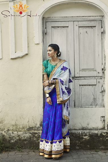 Photo of turquoise and cobalt blue lehenga with dupatta