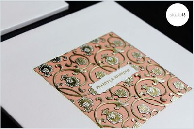 Photo of Peach and White Invites with Laser Cut Floral Design