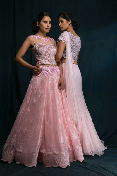 Photo of Light Pink and White Top and Skirt Fusion Lehenga