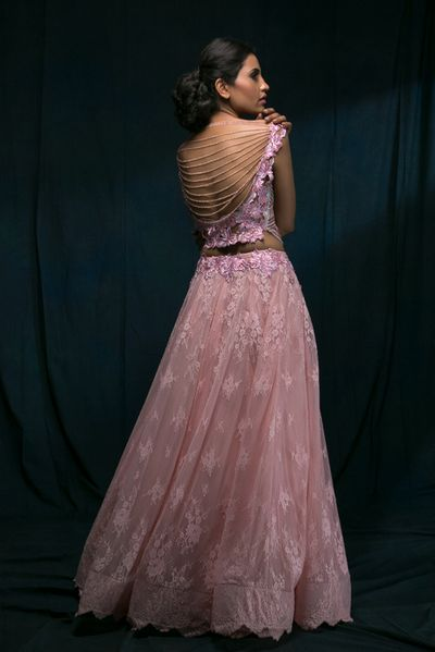 Photo of Light Pink Top and Skirt with Bejewelled Ribbed Back
