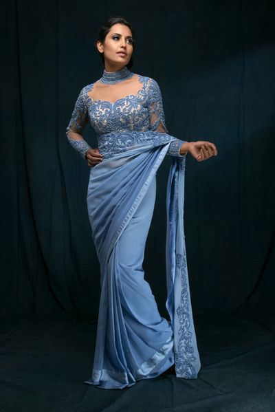 Photo of Powder Blue Sari with Sheer Beaded Blouse