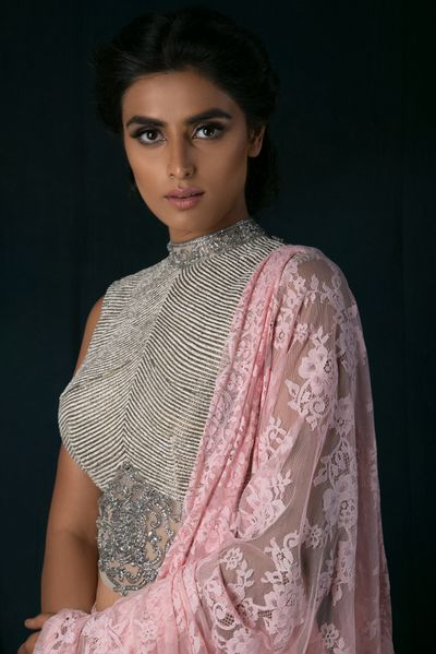 Photo of Light Grey Lace High Neck Blouse and Pink Lace Dupatta