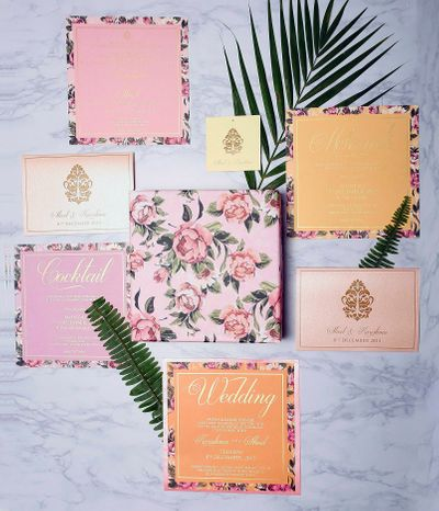 Photo of floral print wedding cards