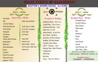 Grace Caterers - Vegetarian Menu